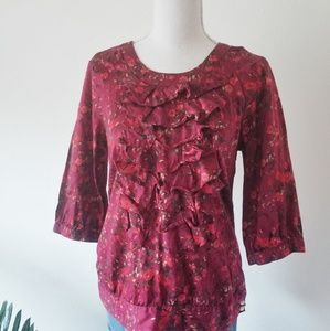 Tulle Anthropologie Red Floral Ruffle Front Blouse